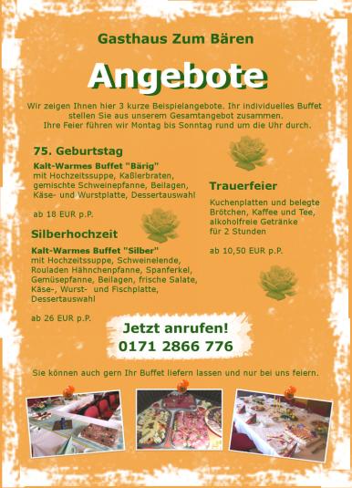 Beispielangebot Familienfeier Tambach-Dietharz